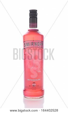 IRVINE CALIFORNIA - JANUARY 8 2017: Smirnoff Watermelon. A sweet vodka infused with natural fruit flavors. Smirnoff traces its heritage back to 19th century Russia.