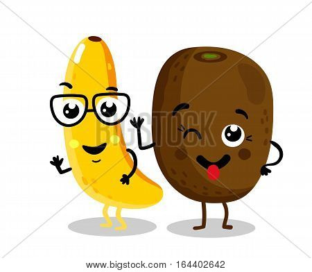 Cute fruit cartoon characters isolated on white background vector illustration. Funny kiwi and banana emoticon face icon collection. Happy smile cartoon face food emoji, comical fruit mascot set.