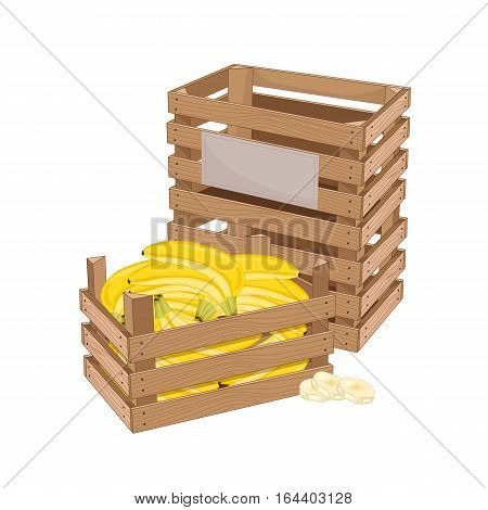 Wooden box full of banana isolated on white background vector illustration. Fresh fruit, organic farming, vegan food, delivery farm product, grocery store. Yellow ripe banana in wooden crate icon.