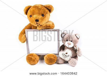 Brown And Grey Fuzzy Teddy Bears With A Grey Frame Isolated On A White Background