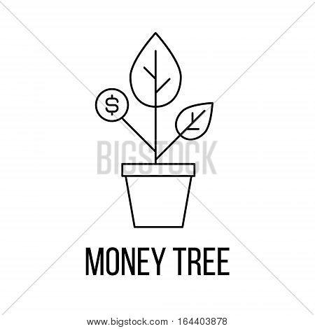 Money tree icon or logo line art style. Vector Illustration.