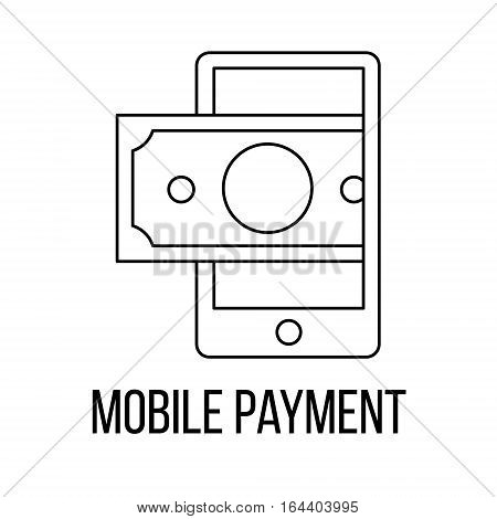 Mobile payment icon or logo line art style. Vector Illustration.