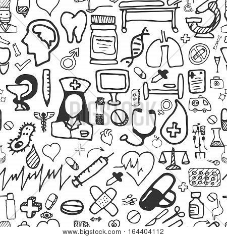 Seamless Pattern for medical pictures. Hand Drawn