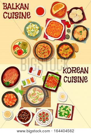 Korean and balkan cuisine icon set with kimchi vegetables, seafood soup, vegetable and bean stew, marinated fish, stuffed cabbage and pepper, polenta, vegetable omelette, rice dessert, almond meringue