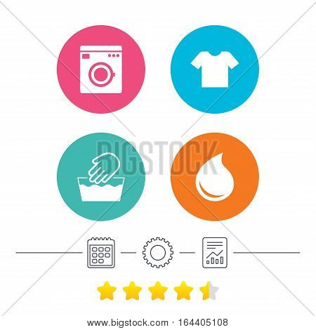 Wash machine icon. Hand wash. T-shirt clothes symbol. Laundry washhouse and water drop signs. Not machine washable. Calendar, cogwheel and report linear icons. Star vote ranking. Vector poster