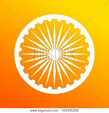 Dharma wheel, element of Indian national flag. Deep saffron and white colors.