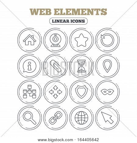 Web elements icons. Paperclip, video camera and information speech bubble. Database, anonymous mask and secure shield. Circle flat buttons with linear icons. Vector