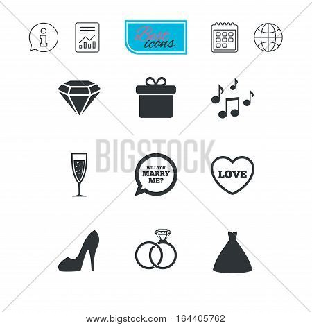 Wedding, engagement icons. Rings, gift box and brilliant signs. Dress, shoes and musical notes symbols. Report document, calendar and information web icons. Vector