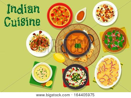 Indian cuisine spicy dinner icon of rice with zucchini and bacon, chicken soup, almond chicken, lamb vegetable rice, prawn masala, tomato lentil salad, fresh cheese in tomato sauce, potato stew