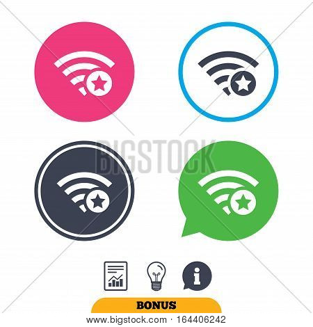 Wifi star sign. Favorite Wi-fi symbol. Wireless Network icon. Wifi zone. Report document, information sign and light bulb icons. Vector