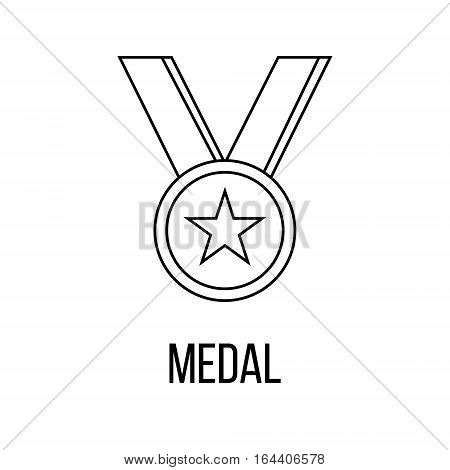 Medal icon or logo line art style. Vector Illustration isolated on white background.
