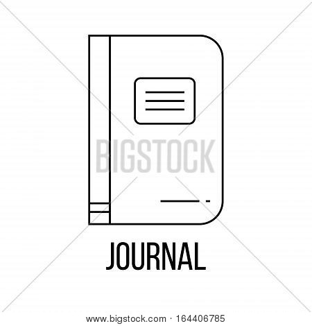 Journal icon or logo line art style. Vector Illustration isolated on white background.