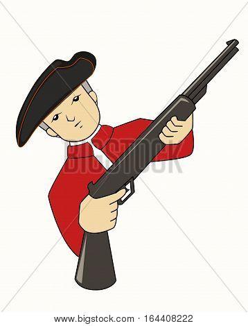 British Army with Rifle Gun Cartoon Character