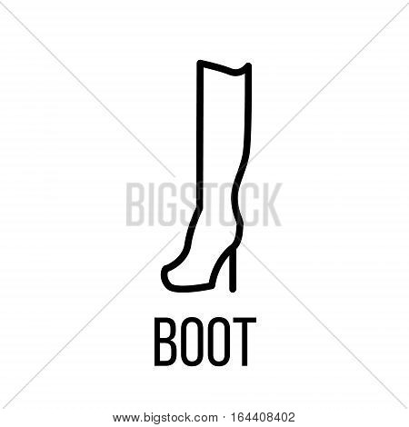 Boot icon or logo in modern line style. High quality black outline pictogram for web site design and mobile apps. Vector illustration on a white background.