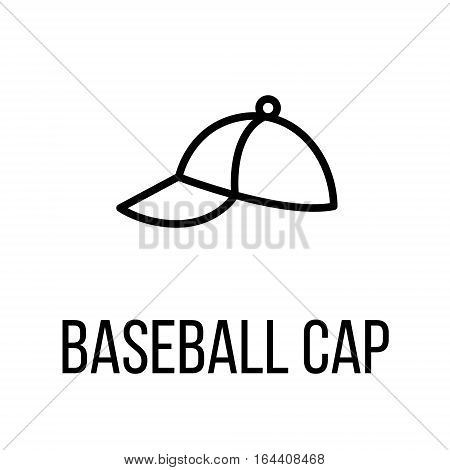 Baseball cap icon or logo in modern line style. High quality black outline pictogram for web site design and mobile apps. Vector illustration on a white background.