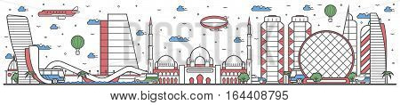 Travel in Abu Dhabi city banner vector illustration. Worldwide traveling concept with famous modern and ancient architectural attractions. Abu Dhabi cityscape panorama landmark line design poster. Travel banner design. Best world travel landmarks concept.