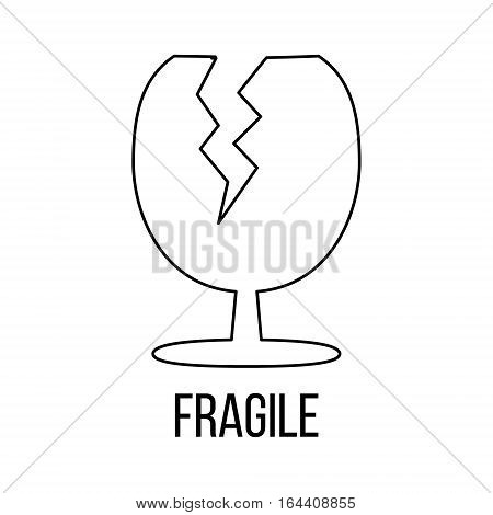 Fragile icon or logo line art style. Vector Illustration.
