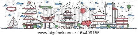 Travel in Japan country banner vector illustration. Worldwide traveling concept with famous modern attractions. Japan country landmark panorama tourist line design poster. Travel banner design. Best world travel landmarks concept. Japan landmarks.