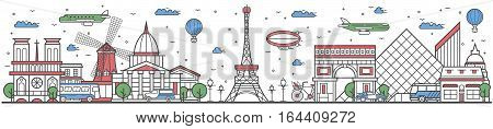 Travel in Paris city banner vector illustration. Worldwide traveling concept with famous modern attractions. Paris cityscape panorama historical landmark line design poster. Travel banner design. Best world travel landmarks concept. Paris landmarks.