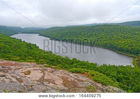 Looking Down on a Cloud Shrouded Lake in Porcupine Mountains State Park in Michigan