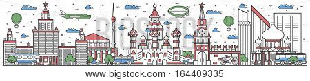 Travel in Russia country banner vector illustration. Worldwide traveling concept with famous modern attractions. Russia country landmark panorama tourist line design poster. Travel banner design. Best world travel landmarks concept. Russia landmarks.