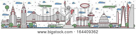 Travel in USA country banner vector illustration. Worldwide traveling concept with famous modern attractions. USA country landmark panorama tourist line design poster. Travel banner design. Best world travel landmarks concept. USA landmarks.