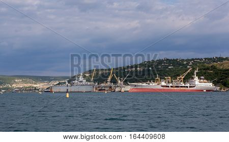 Sevastopol, Russia - June 09, 2016: Big sea tanker Ivan Bubnov in the Bay Black Sea.