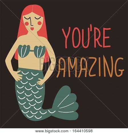 Greeting card with cute cartoon mermaid.
