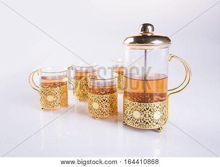 Tea Set Or Tea Set With Tea On Background.