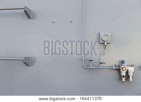 Steel doors and steel gray walls background
