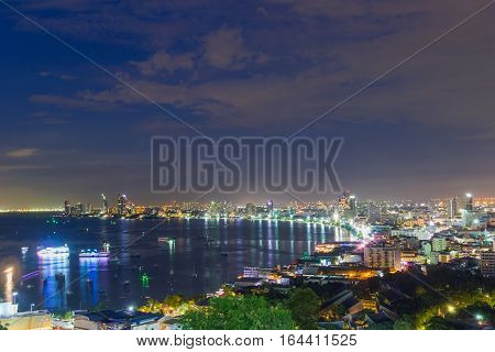 City scape Night Pattaya Chonburi Thailand Viewpoint