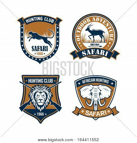 Hunting club, safari and outdoor adventure badge set. Hunter sport club symbol with lion, elephant, leopard and antelope on heraldic shield with crossed rifles, ribbon banner and stars