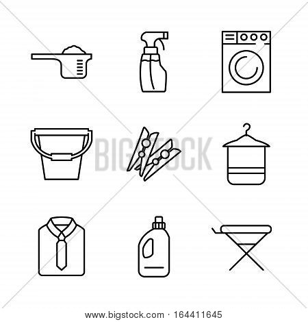 9 Laundry high quality line icons in modern style. Housework and cleaning elements for websites, brochures, UI and others. Vector illustration on a white background.
