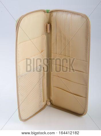Passport Case Or Passport Wallet On Background.