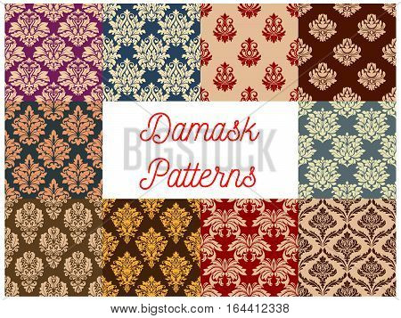 Damask ornate floral seamless pattern background set. Baroque floral ornament with flowers, composed of leaf swirls and flourishes. Vintage wallpaper, embellishment design poster