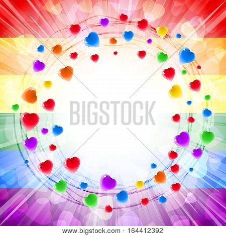 Circles of hearts in a round vortex ring-shape on the background of light rays and confetti from gentle symbols of love; Greeting card for Valentine's Day weddings and lovely design with a text frame; Vector LGBT flag Eps10; Rainbow version
