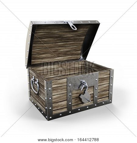 Treasure chest empty and open on white background 3D rendering