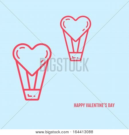 Vector illustration of valentines day concept in flat bold line style. Graphic design pink hearts with baskets on blue background. Outline love symbols objects. Can be add text.