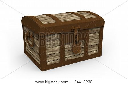 Treasure chest closed on white background 3D rendering