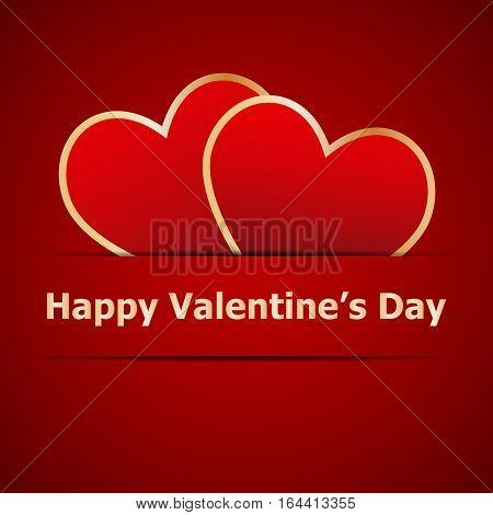 Red hearts on Valentines day card, stock vector