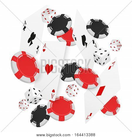 Casino Concept Floating Cards and Chips. Casino poker design template. Falling poker cards and chips game ucky background