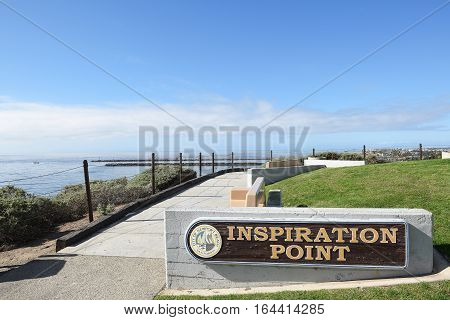 NEWPORT BEACH CALIFORNIA - JANUARY 6 2017: Inspiration Point. The overlook sits on the bluffs above Corona del Mar State Beach.