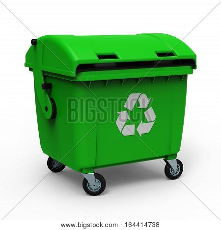 Green garbage container isolated on white background 3D rendering