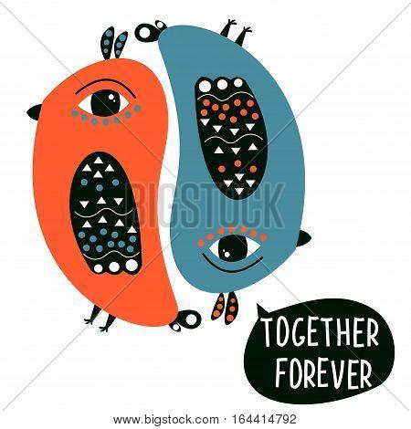Sweet  colored Valentine, lovebirds. Vector. Cartoon- style.