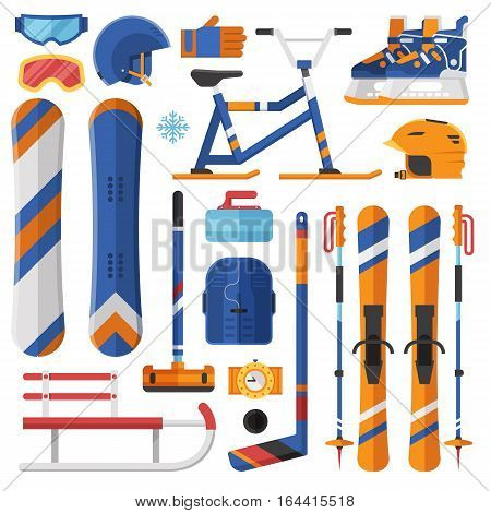 Winter sports equipment and gear set. Ski, skates, snowmobile, hockey, curling, snowboard and sleds. Snow extreme games accessories vector icons. Snowboarding and skiing helmets, goggles and gloves.