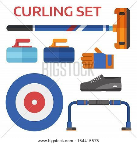 Winter curling sport equipment set with broom, stone, shoes and other elements. Ice sports essentials.