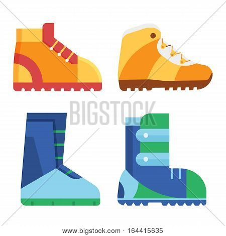 Hiking shoes and snowboard boots vector icons. Sport footwear for outdoor activities.