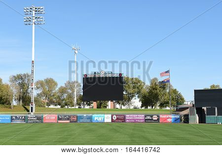 SCOTTSDALE ARIZONA - DECEMBER 9 2016: Scottsdale Stadium looking from the Right Field stands toward the Scoreboard. The stadium is the Spring Training home of the San Francisco Giants.