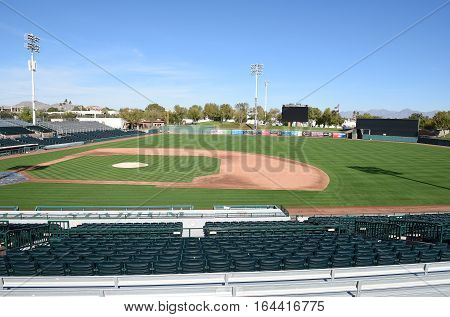 SCOTTSDALE ARIZONA - DECEMBER 9 2016: Scottsdale Stadium looking from The Right Field stands. The stadium is the Spring Training home of the San Francisco Giants.