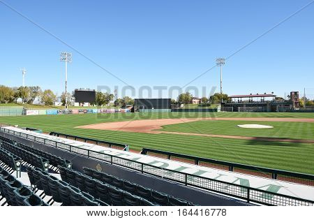 SCOTTSDALE ARIZONA - DECEMBER 9 2016: Scottsdale Stadium looking from Third Base stands. The stadium is the Spring Training home of the San Francisco Giants.